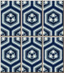 Ceramic tile pattern 452 blue sawtooth side polygon geometry