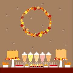 Autumn sweet table. Dessert bar with autumn wreath. Vector illustration