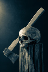 Still life photography : human skull and axe on tree stump in murder soul concept in vintage color tone