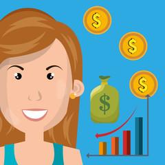 woman statistics arrow coin vector illustration eps10