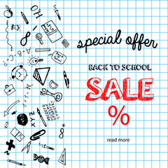 Back to school sale banner with hand drawndoodle elements. Sketch style background. Vector illustartion