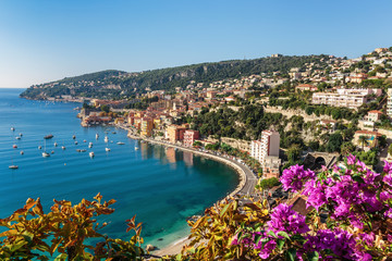 Poster de jardin Nice Panoramic view of Cote d'Azur near the town of Villefranche-sur-