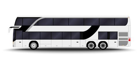 city transport. Double decker, intercity, Bus side view.