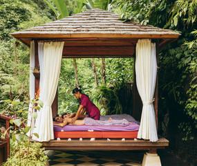 Outdoor body massage spa center at luxury resort
