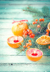 Poster Cuisine Christmas decoration on abstract background,vintage filter,soft focus