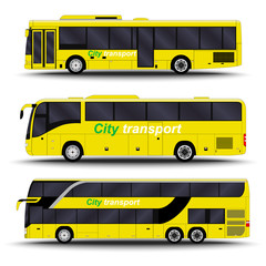city transport. Bus side view.