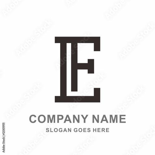 monogram letter l f simple line vector logo design template