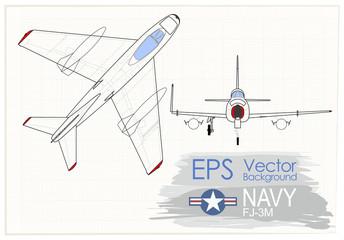 ilustracja wektorowa Vintage samolotów, rysunek na papierze, artystyczne ujęcie rzutu samolotu F7U, insygnia Navy, tło