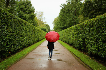 young girl walks along the green alleys from the bushes in the rain with  red umbrella