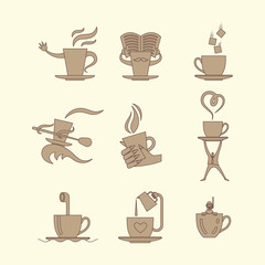 Coffe and tea cup monochrome icon set