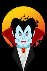 Count Dracula and moon. Evil vampire. Aggressive ghoul. Poster f