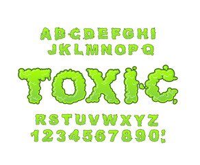 Toxic font. Green liquid ABC. Acid typography. Radiation alphabe