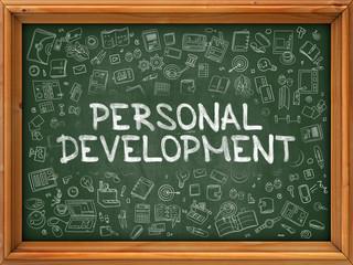 Personal Development - Hand Drawn on Green Chalkboard.