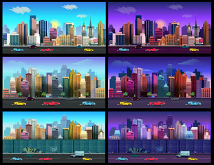 City Game Backgrounds Set