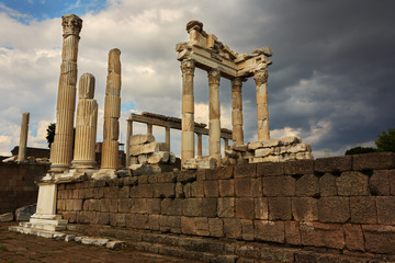 Antique city of Pergamon, Ruins of ancient Acropolis in Bergama, Izmir