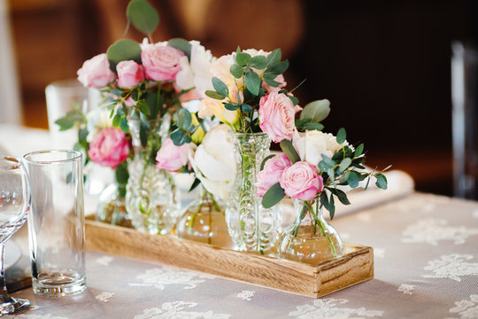 wedding decor with pink peonies and roses