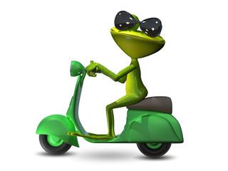 3D Illustration green frog on a motor scooter