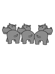 three 3 friends group team party popo ass butt funny comic dick happy cartoon sweet little cute baby hippopotamus child