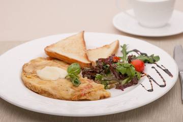 breakfast served with fried bread and egg in the dough