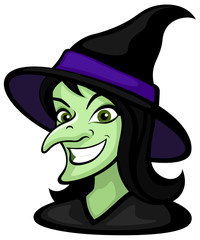 Vector illustration of a smiling cartoon witch, from the shoulders up.
