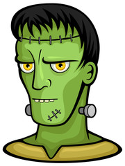 Vector illustration of Frankenstein's monster, from the shoulders up.