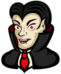 Vector illustration of a cartoon vampire, from the shoulders up.