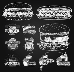 Fast Food Label, Logos and design elements chalk drawing