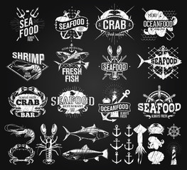 Seafood labels, logo chalk drawing