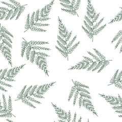 Seamless pattern with ferns. Unusual natural texture. Vector wallpaper with plants created for your design.