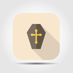 coffin flat icon with long shadow