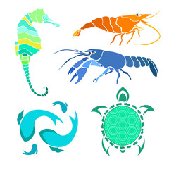 Colored silhouettes sea creatures