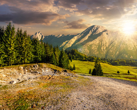 road through forest to high mountains at sunset