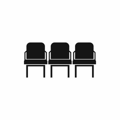 Chairs in the departure hall at airport icon in simple style isolated on white background vector illustration