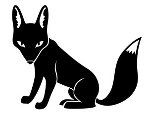 Silhouette fox isolated