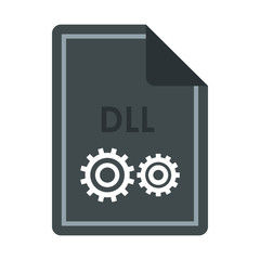 File DLL icon in flat style isolated on white background. Document type symbol vector illustration