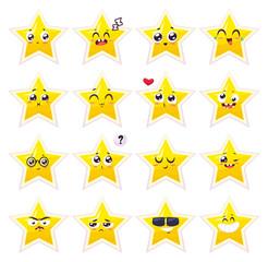 Smiles set of characters. Vector cute cartoons