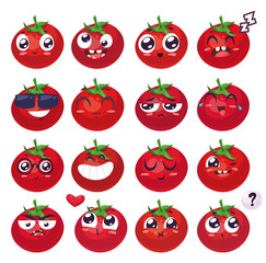 Smiles set of fruit characters. Vector cute cartoons