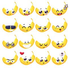 Smiles set of fruit characters. Vector cute cartoons