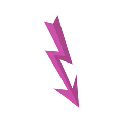 Arrow lightning icon in flat style isolated on white background. Pointer symbol vector illustration