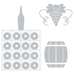 Stylized icon of a colored wine rack, bottles of wine, bunch of