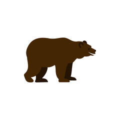 Bear icon in flat style isolated on white background. Animal symbol vector illustration