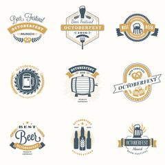 Beer Festival Octoberfest celebrations. Set of retro vintage beer badges, labels, emblems. Vector design elements