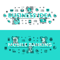 Business Idea and Mobile Banking heading, title, web banner. Horizontal colored in white and turquoise flat vector illustration.
