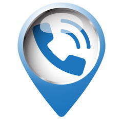 Map pin symbol with Phone icon. Blue symbol on white background.