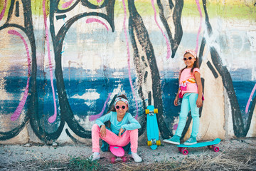 Colorful children with skateboards
