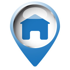 Map pin symbol with Home icon. Blue symbol on white background.
