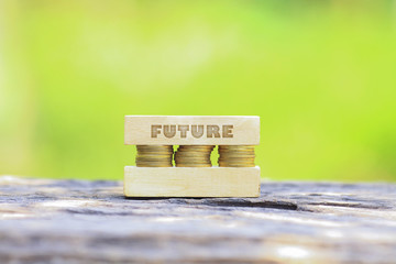 Business Concept - FUTURE WORD, Golden coin stacked with wooden bar