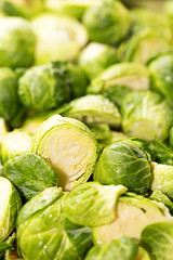 Brussel Sprouts Raw Cut Up