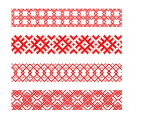 Set of four belarusian ethnic patterns