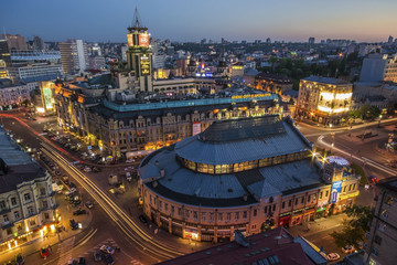 KIEV - September 2014 :: View to the center of Kiev, the Bessarabska Square in the evening on Spt 8, 2014 in Kiev, Ukraine. This is the most popular place Arena city.